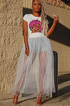 Semi Sheer Shirred Transparency Wave Ruffles Dress DN8371
