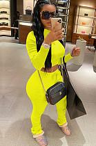 Yellow Crop Top & Pleated Bottom Self-tied Pants Set QQM4002