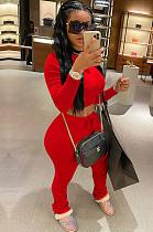Red Crop Top & Pleated Bottom Self-tied Pants Set QQM4002
