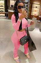 Pink Crop Top & Pleated Bottom Self-tied Pants Set QQM4002