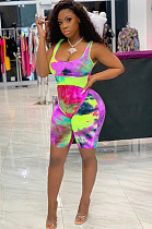 Pink Drawstring Waist Square Neck Cami Romper Jumpsuit JH147