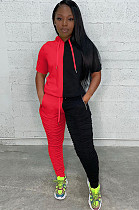 Red&Black Two Tones Hoodie Top & Ruffles Pants Set ARM8163