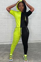 Green&Black Two Tones Hoodie Top & Ruffles Pants Set ARM8163