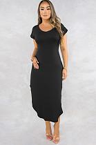 Black Round Neck Roll-up Short Sleeve Side Split Long Dress Q506