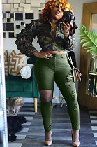Green Distressed Roll-up Botto Pants BLX7506