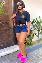 Blue Side Ruffles Short Pants N9198