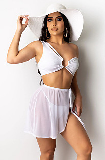 White One Shoulder Straped Bandeau & Transparent Cover Swimwear Sets YY5154