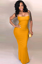 Mustard Yellow Back Open & Tied Cami Long Dress YT3037