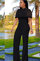 Black Embroidered Front Lace Wave Layered Jumpsuit W8259