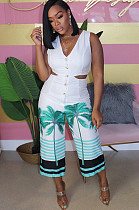 Off Shoulder Side Hollow Out Tree & Stripes Print Cropped Jumpsuit Q518