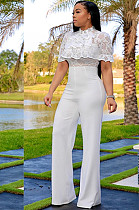 White Embroidered Front Lace Wave Layered Jumpsuit W8259