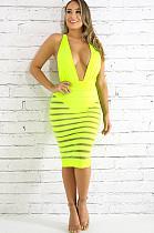 Green Back Criss-Cross Tied Strapless Dress OEP6145
