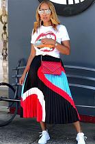Mouth Graphic Print T-shirt & Ruffles Skirt Set AL090