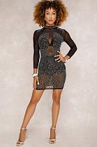 Detalhes frisados pretos vestido semi-transparente Bodycon OEP6130