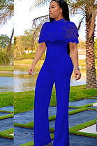 Blue Embroidered Front Lace Wave Layered Jumpsuit W8259