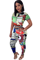 Comics Graphic Print Crop Top & Pants Sets OEP6140
