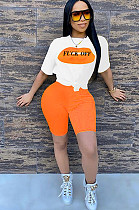 Orange Slogon Graphic Print Short Sets CM730