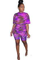Purple Multicolor Round Neck Camo Short Sets F8270
