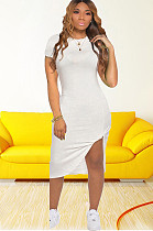 Branco Side Split & torção camisa vestido CM726