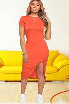 Orange Side Split & Twist Shirt Dress CM726