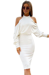 White Open Back Off Shoulder Puff Sleeve Midi Dress XZ3524
