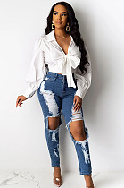 Distressed Boy-Friend Mid-Rise Jeans SMR2260