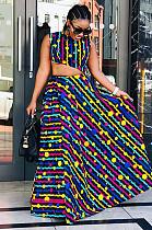 Multicolor Off Shoulder Asymmertrical Hem Top & Wave Pleated Skirt Set DMM8040