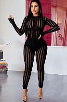 Zebra preta malha Mock pescoço Bodycon macacão Q516
