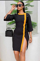 Black Side Split Colored Hem Drop Sleeve Ankle-length Dress