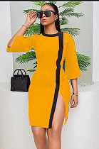 Mustard Yellow Side Split Colored Hem Drop Sleeve Ankle-length Dress