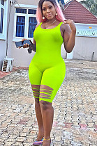 Green Solid Color Bottom Ripped Tank Jumpsuit YX9202