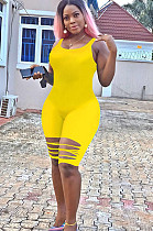 Yellow Solid Color Bottom Ripped Tank Jumpsuit YX9202