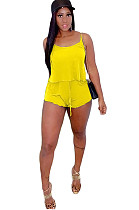 Yellow Spaghetti Strap Crop Top & Self-tied Shorts Sets GL6261