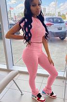 Pink Crop Top & High-rise Skinny Pants Sets LMM8142