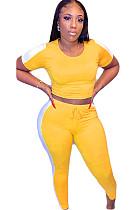 Yellow Side Stripe Print Crop Top & Shirred Detail Pants Set AMM8222
