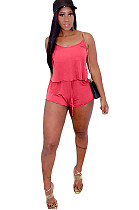 Red Spaghetti Strap Crop Top & Self-tied Shorts Sets GL6261