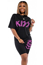 Black Front Word Print Knotted Front Shorts Sets KK8187