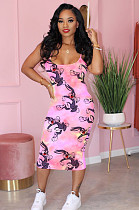 Pink Comic Graphic Random Print Cami Dress LML101