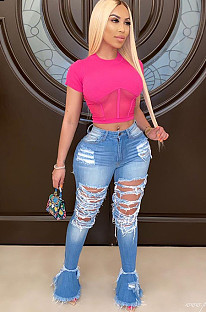 Ripped Flare Bottom Denim Jeans D8354