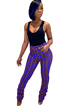 Purple Plaid Bottom Ruffled Mid-rise Pants CM731