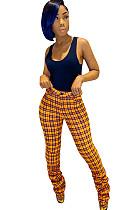 Orange Plaid Bottom Ruffled Mid-rise Pants CM731