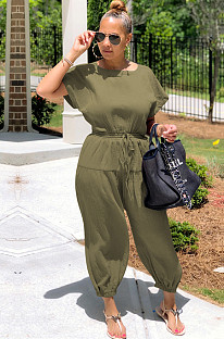 Green Drop Shoulder Shirred Details Self-tied Jumpsuit OEP6155