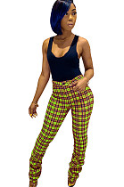 Green Plaid Bottom Ruffled Mid-rise Pants CM731