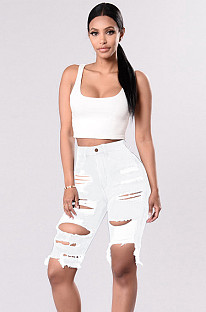 White Ripped Mid-rise Denim Shorts SMR2067