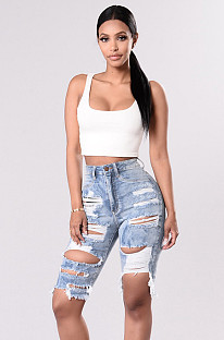Ripped Mid-rise Denim Shorts Jeans SMR2067