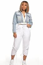 White Solid Color Shirred Details Pants QZ6087
