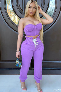 Purple Bandeau Top & Criss-cross Tied Pants Sets CM732