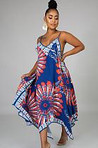 فستان كامي بطبعة الجرافيك بحافة متباينة الطول باللون الأزرق وشاح CCY8432