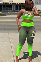 Crop Tank Top & Mid-Rise Skinny Pants Sets mit grüner Vorderseite und Logo-Aufdruck HY5144