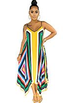 فستان كامي بطباعة الجرافيك متعدد الألوان بطبعة وشاح غير متماثل